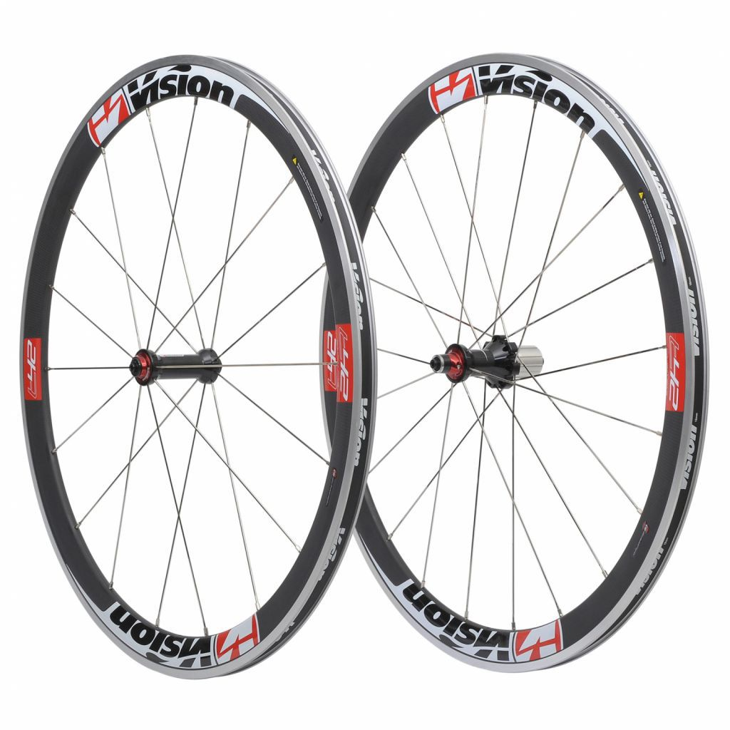 ROUES VISION T42 PAIRE Rouge Corps Shimano 10/11V